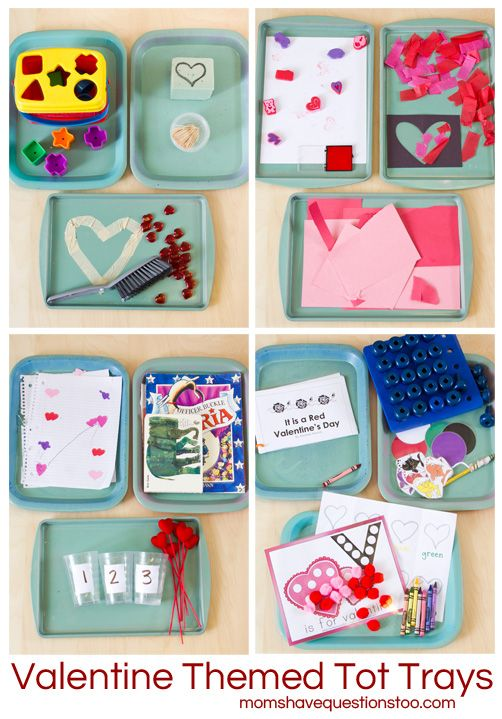 A fun collection of ideas for Valentine themed tot school trays. 12 trays in all and most of them incorporate something related to Valentine's Day!
