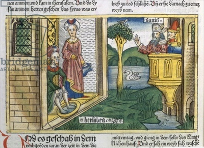 2 Samuel 11 1-5 David sees Bathsheba bathing, from the 'Nuremberg Bible (Biblia Sacra Germanaica)' (coloured woodcut), 1483