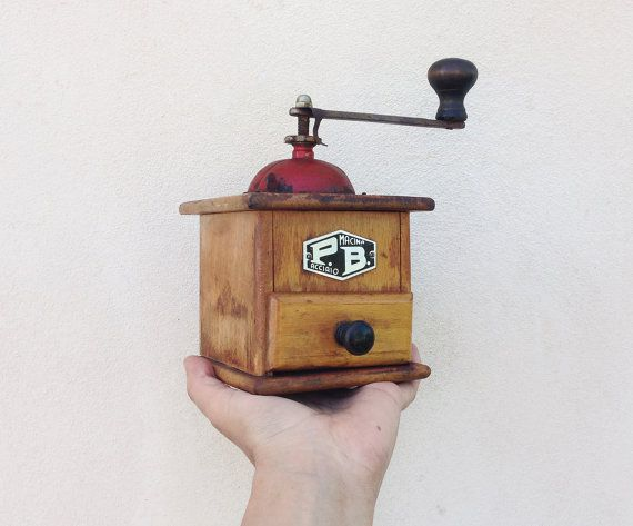 Antique italian coffee grinder / 50s wooden coffee mill by P.B. / Vintage Rustic coffee maker /retro kitchen / home decor on Etsy, $71.60