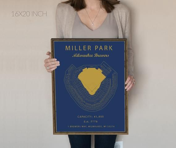 Miller Park Seating Chart Milwaukee Brewers Milwaukee Etsy With