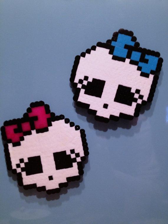 Monster High Skull Logo Perler Bead Sprite Art by PixelFolk, $7.00