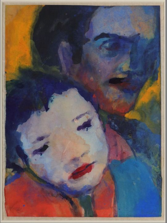 Emil Nolde (German-Danish, 1867 - 1956)  Tho Heads (Zwei Köpfe), N/D  Watercolor and gouache on paper, 27,6 × 20 cm