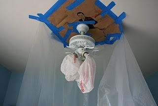 Spray painting a ceiling fan (while still installed!)  And my husband said it couldn't be done...