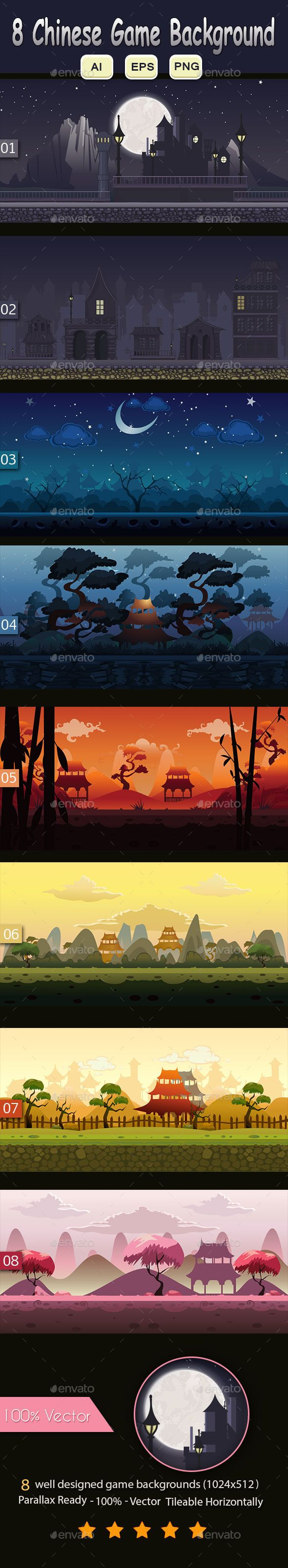 8 Chinese Game Background — Vector EPS #platformer #asset • Download here → https://graphicriver.net/item/8-chinese-game-background/9835319?ref=pxcr