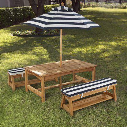 KidKraft Outdoor Table & Chair Set with Navy Cushions - 106   Hayneedle