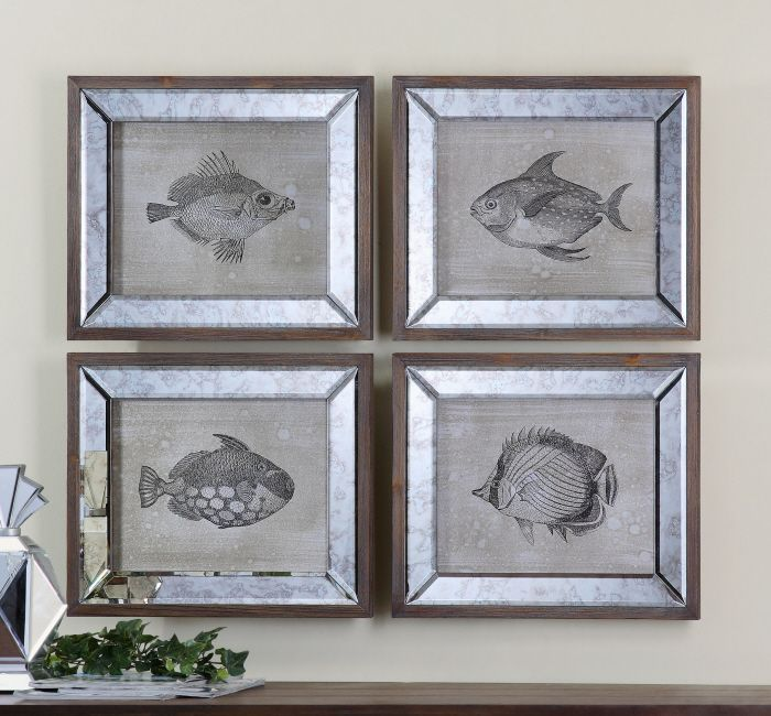 Uttermost mirrored fish by steve kowalski 4 piece framed painting print set