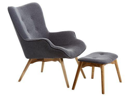 Кресло EJERSLEV с табуретка/сиво/дъб | JYSK