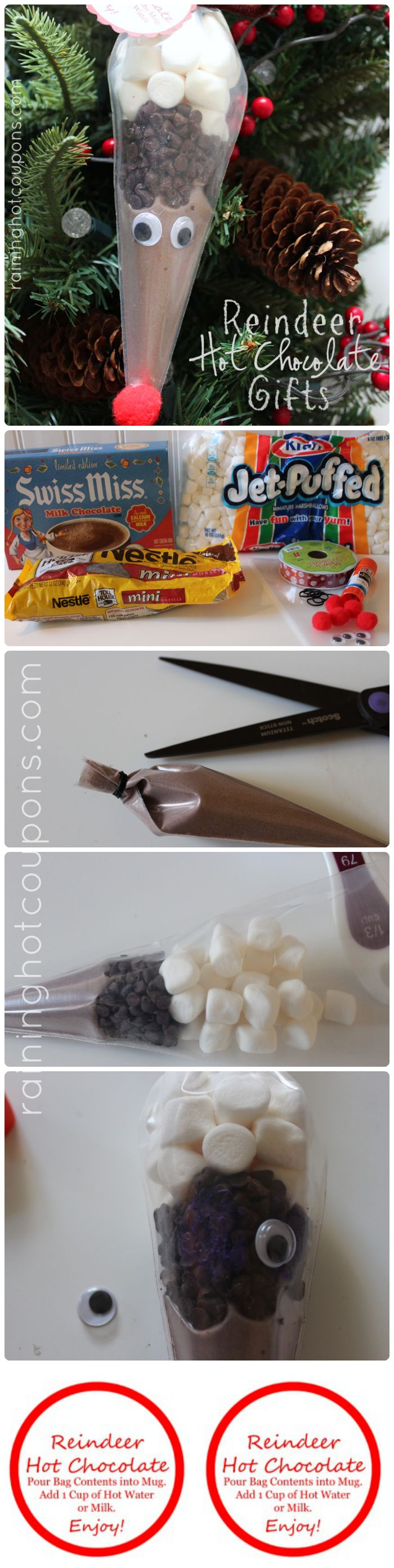 Reindeer Hot Chocolate Gifts + FREE Printable Gift Tag Labels! - Raining Hot Coupons