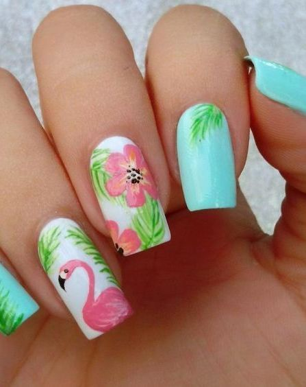 40+ Cute Flamingo Themed Nail Art Ideas