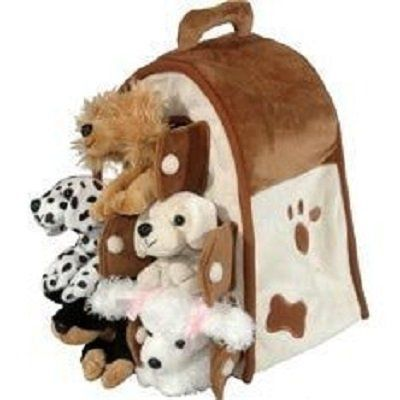 PLAY DOG HOUSE FOR KIDS AND ADULTS: Plush Dog House -Five (5) Stuffed Animal Dogs (Dalmation, Yellow Lab, Rottweiler, Poodle, Cocker Spaniel) in Play Dog House Car...