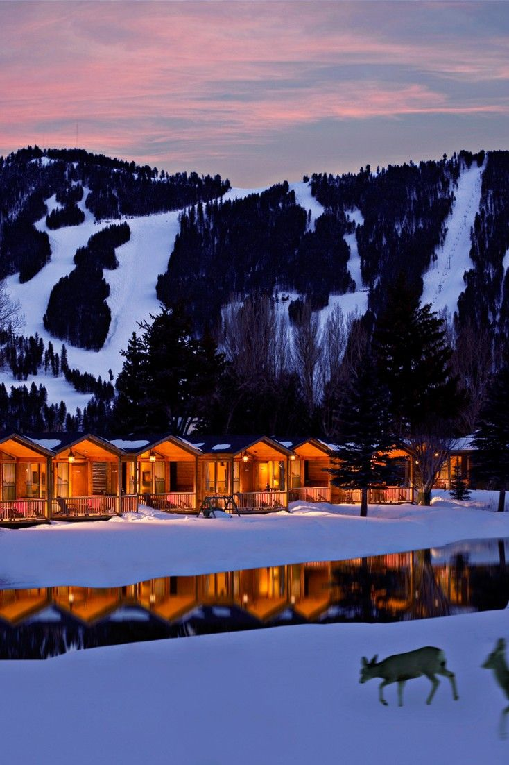 Rustic Inn's collection of log cabins sits by a lazy river just outside of Jackson Hole. #Jetsetter Rustic Inn (Jackson Hole, Wyoming)