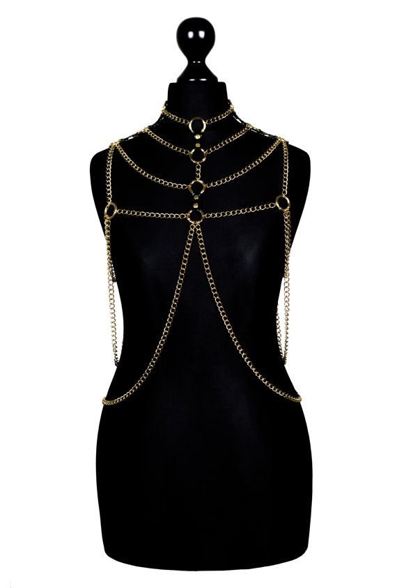 Gold Metal Body Chain Harness #VII - bodychains, bodychain, gold plated, metal on Etsy, $611.75