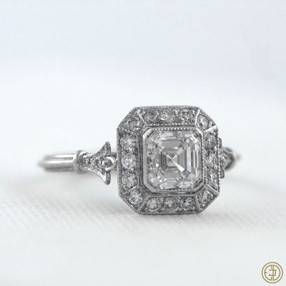 Vintage Style Asscher Cut Diamond Engagement Ring - Diamond Halo - 1.01 carat - GIA - VS1 clarity - G color - Estate Diamond Jewelry