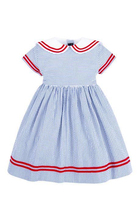 Girls Seersucker Sailor Dress by Oscar de la Renta for Preorder on Moda Operandi