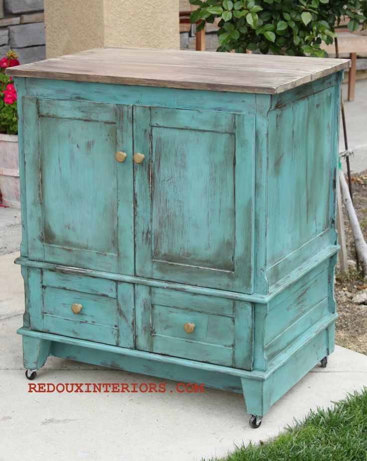 Bathroom Vanity Upcycle to Rolling Kitchen Island.  CeCe Caldwell's Virginia Chestnut and Destin Gulf Green.  REDOUXINTERIORS FACEBOOK: REDOUX