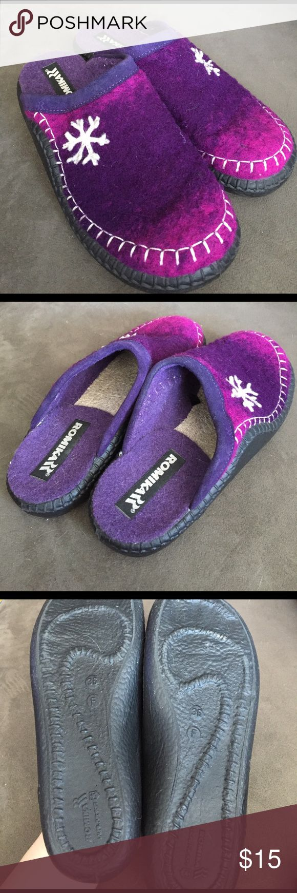 Romika purple winter slipper shoes EUC - warm wool - durable shoes romika Shoes Mules & Clogs