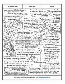 "A fully annotated version of Robert Frost's ""The Road Not Taken,"" done in the style of visual brainstorming. It's ideal for educators who plan to teach one of Frost's most recognizable and most important poems. The PDF is five pages, with the first featuring the poem and the next four featuring the visual brainstorming annotations."