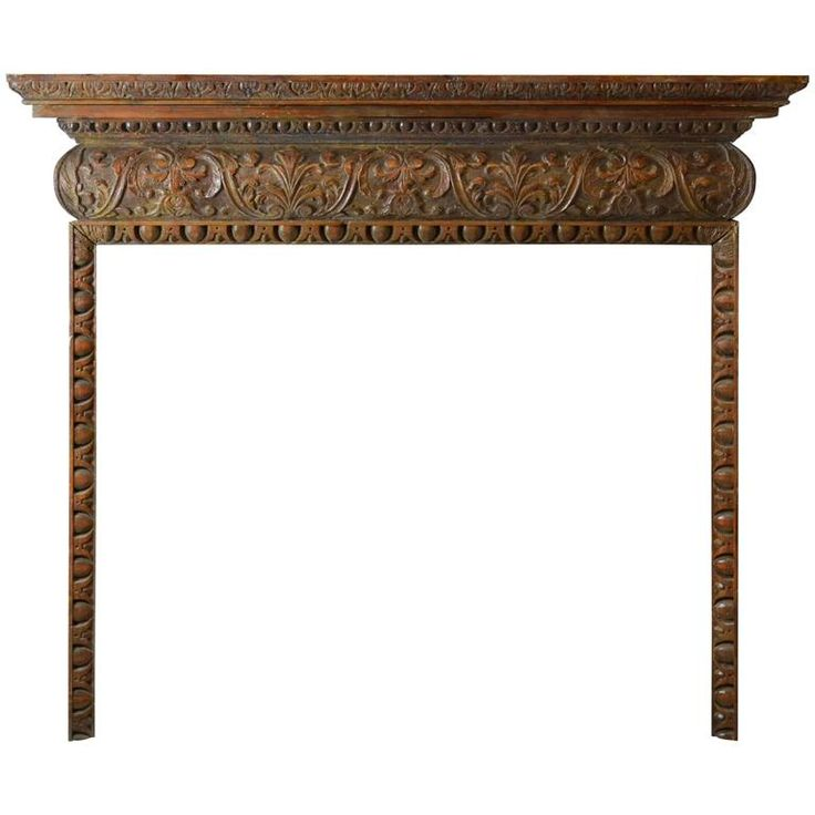 18th Century Carved Oak Mantel, GEO-ZD11 | From a unique collection of antique and modern fireplaces and mantels at https://www.1stdibs.com/furniture/building-garden/fireplaces-mantels/