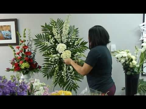 How to Make Standing Spray Floral Arrangement for a Funeral - YouTube