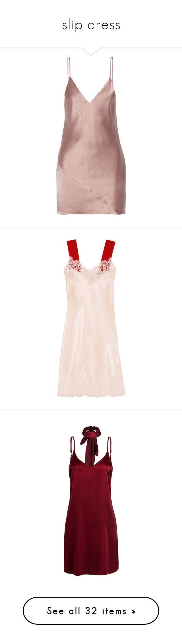 """slip dress"" by neko-m-tucker-smith ❤ liked on Polyvore featuring intimates, shapewear, dresses, beige, mini dress, vestido, slip on dress, pink mini dress, silk satin dress and pink dress"