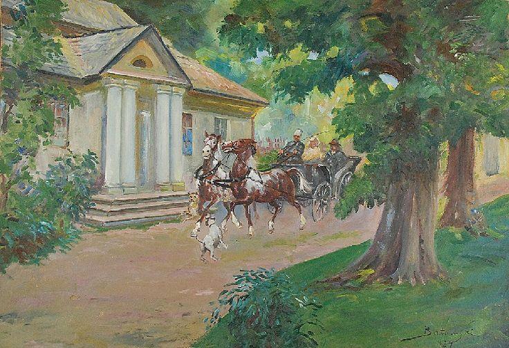 Kazimierz BATOWSKI (1866-1946)  Powóz przed dworem, 1924 olej, tektura; 39,5 x 56 cm;