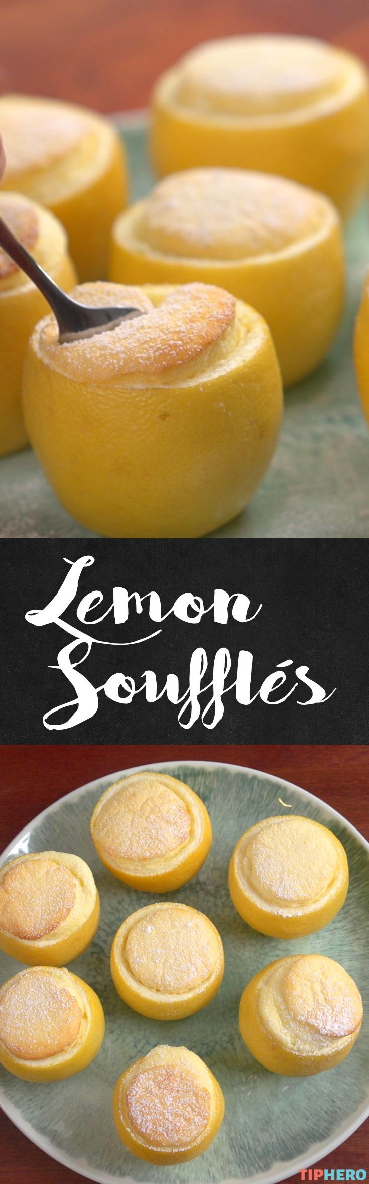 Lemon Soufflés Recipe  Love a light and airy soufflé— especially when it's lemon-flavored! The combination of creamy sweetness and just that touch of tart is irresistible. Click for recipe and how to video. #desserts #sweettreats