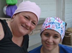 Make and donate hats to people going through chemotherapy.  Free pattern using old T-shirts.