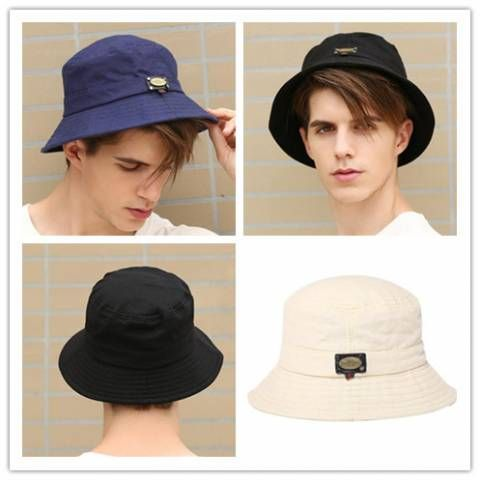 Mens bucket hat for spring plain blue package cotton hats