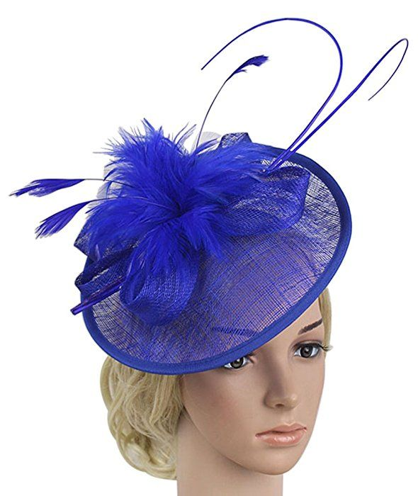 Z X Sinamay Fascinator With Headbad Feather Floral Pillbox Hat For Cocktail Wedding Royal Blue At Amazon Women S Clothing Store Amazon Women Pillbox Hat Women