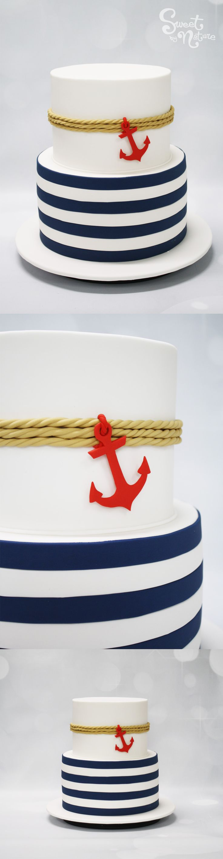 Nautical Themed Wedding Cake Finished With Icing Rope And A Red Anchor
