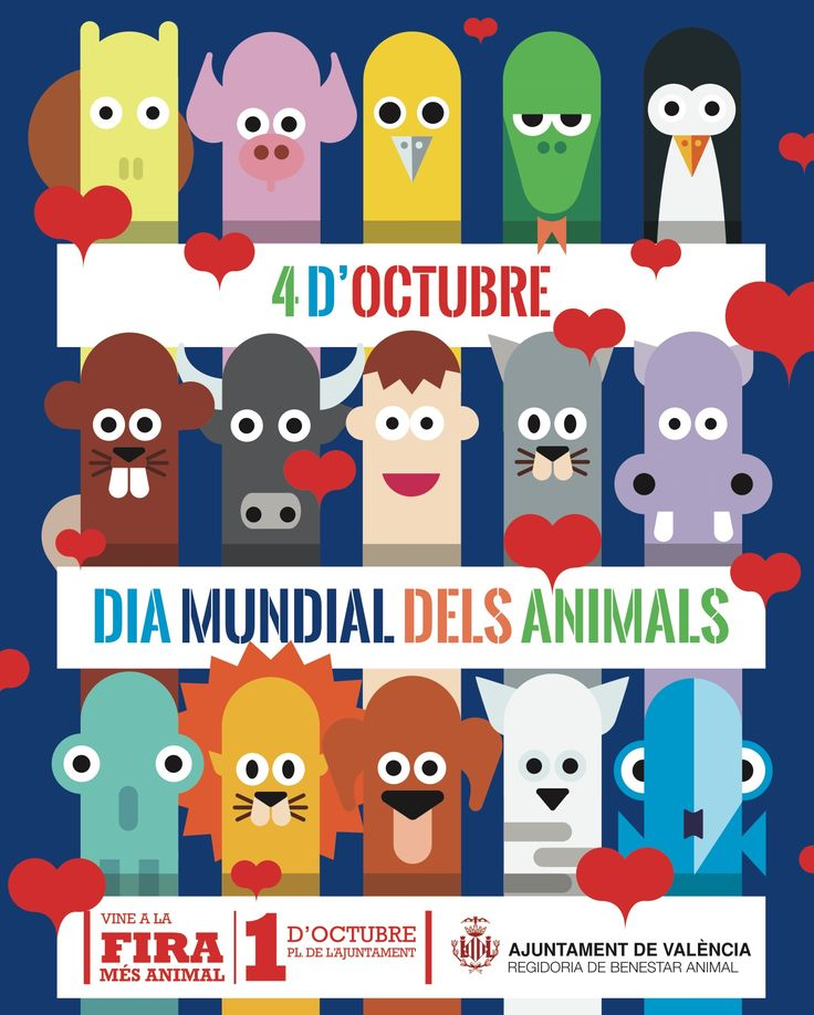 Cartel Dia Mundial dels Animals Laclave Creacion para Ajuntament de València, Regidoria de Benestar Animal