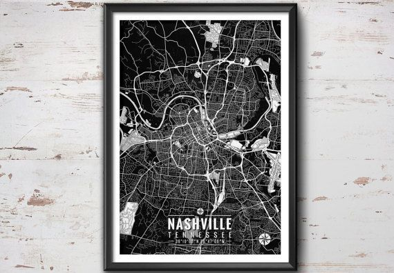 "Nashville Map with Coordinates _______________________________  - Print size available in: 13"" x 19"", 12 x 18, 11 x 14, 8 x 10, 6 x 8, or 5 x"