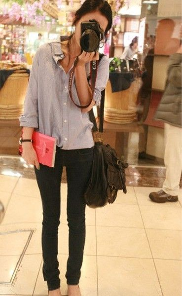Boyfriend shirt + skinny jeans