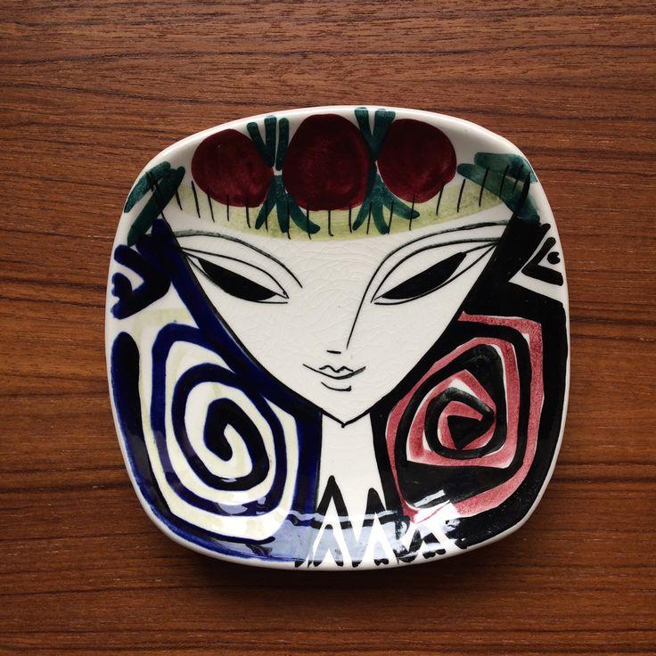 Vintage Inger Waage LADYS FACE Dish for Stavangerflint Ceramic Mid Century 1950's Norway Scandinavian Design Retro Black White Red by Studio31Vintage on Etsy