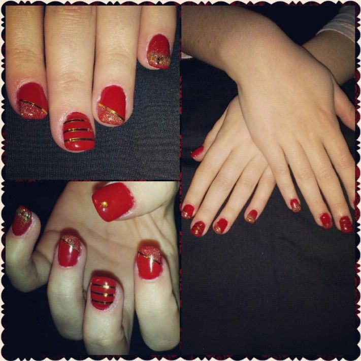 #nails #ongles #quebec #nailart #design #fashion #red #gold