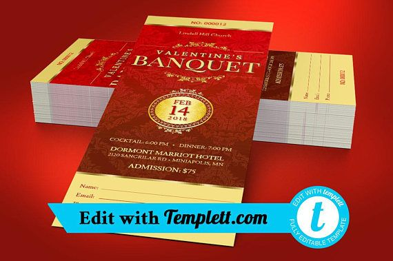 Red Valentines Banquet Ticket Templett - Editable in any web
