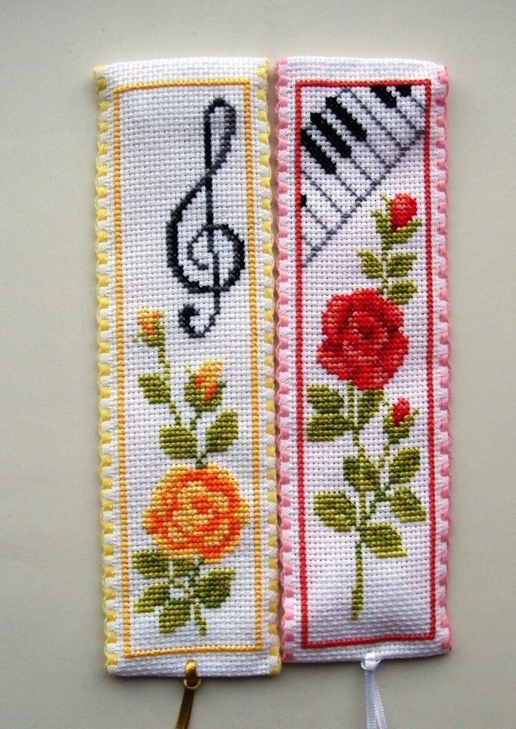 Vervaco Cross stitch bookmarks-roses and music.