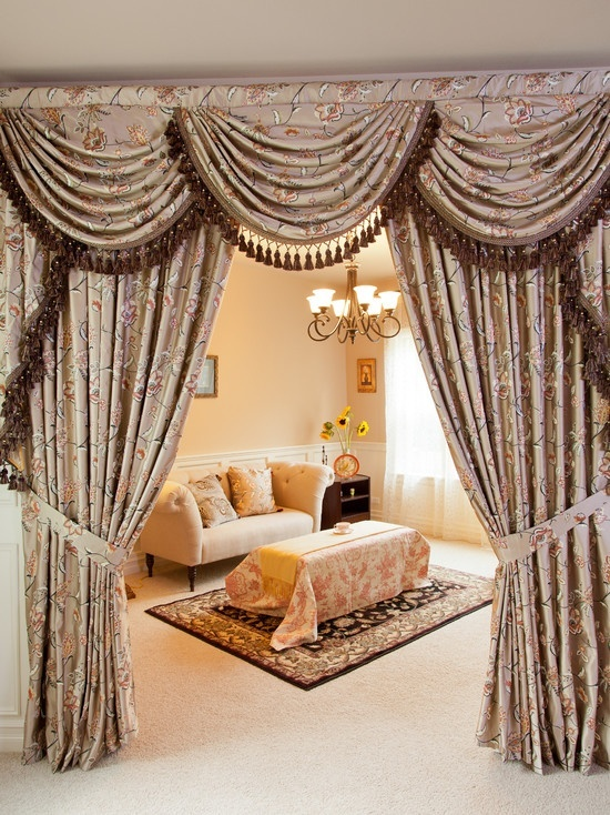 Here Is A Beautiful Brown Formal Swag Curtain. The Entry Of The Room Looks  So