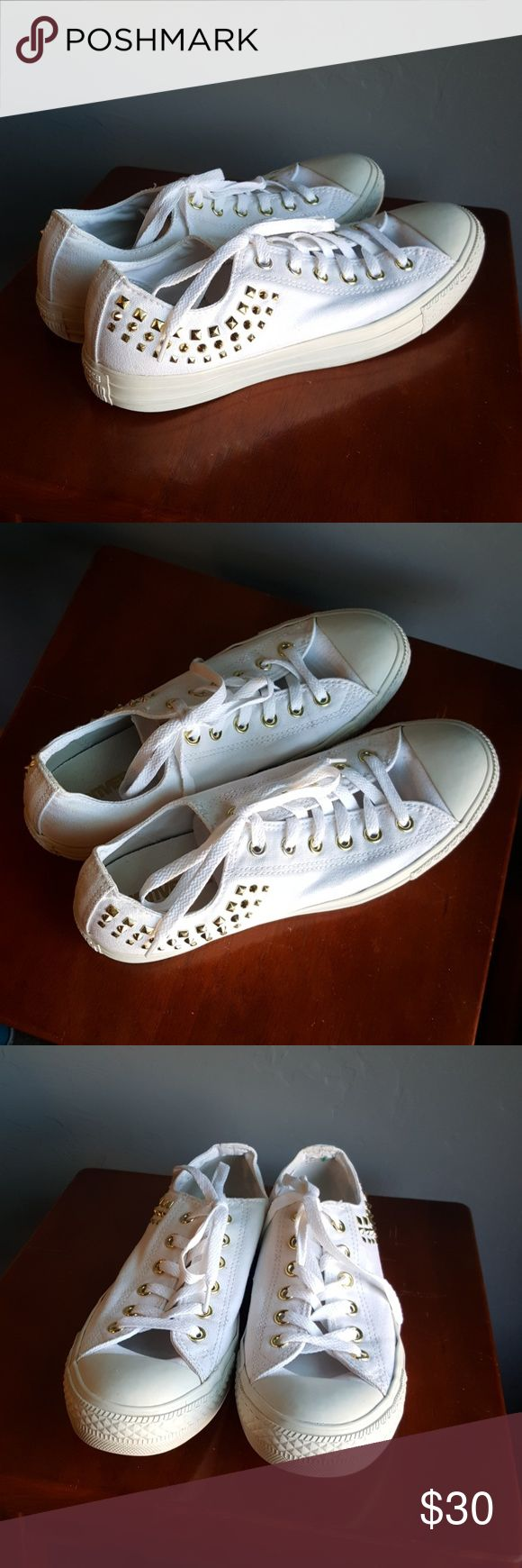 Converse Chuck Taylor White Gold Stud All Stars Very cute Authentic In good condition Tiny spot on the back seen in sixth photo Women's 10 Converse Shoes Sneakers