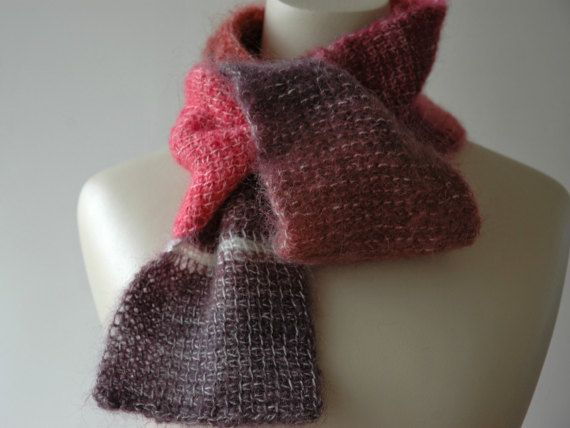Mohair skinny eyelet scarf in shades of pink and purple