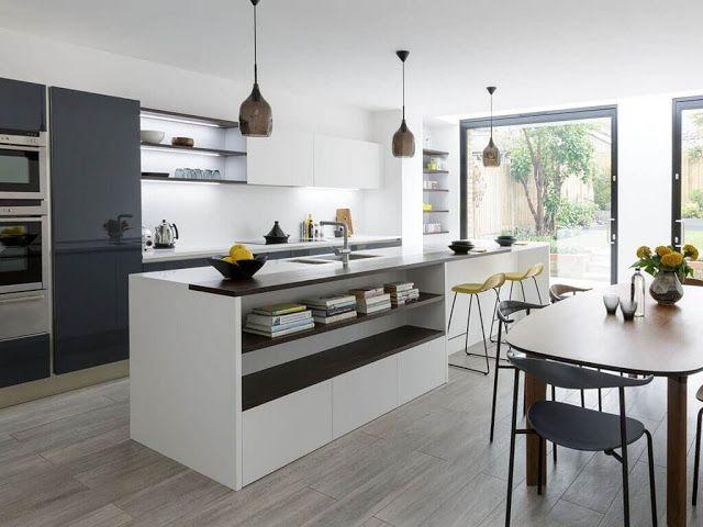 Cocina Abierta Con Isla Y Mesa Islas De Cocina Diseno Cocinas Modernas Mesas De Cocina