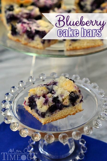 Blueberry Cake Bars from MomOnTimeout.com #blueberry #cake