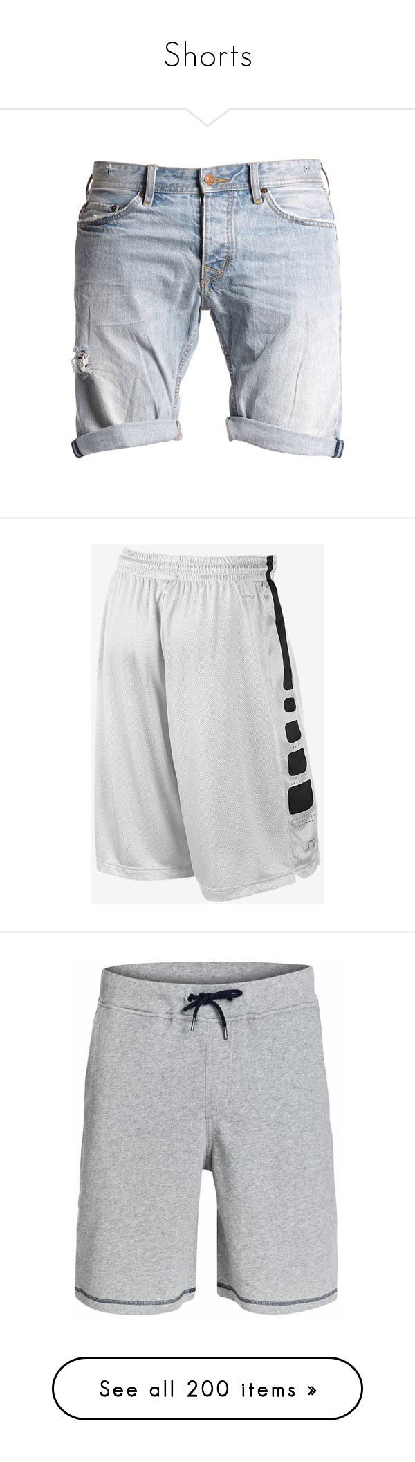 """Shorts"" by curiousgamer ❤ liked on Polyvore featuring shorts, men, bottoms, pants, men's clothes, destroyed jean shorts, summer shorts, ripped jean shorts, denim short shorts and jean shorts"