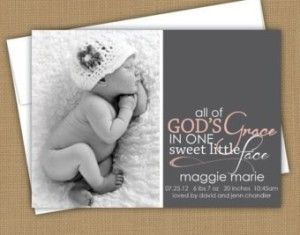 I love how the wording is pushed down on the card!!  (Sight has baby announcement wording ideas)