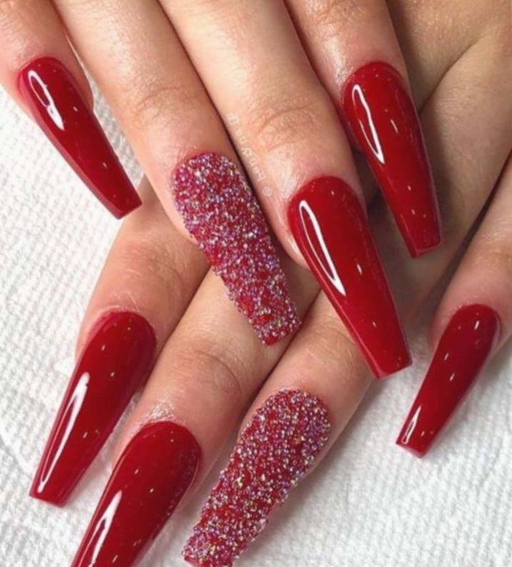 12 Christmas Nails Long Coffin In 2020 Red Acrylic Nails Coffin Nails Designs Red Nail Art Designs