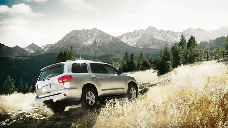 2014 Toyota Sequoia, silver car, upslope, offroad