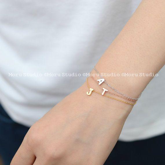Initial Bracelet Uppercase  Gold Silver Rose Gold by MoruStudio