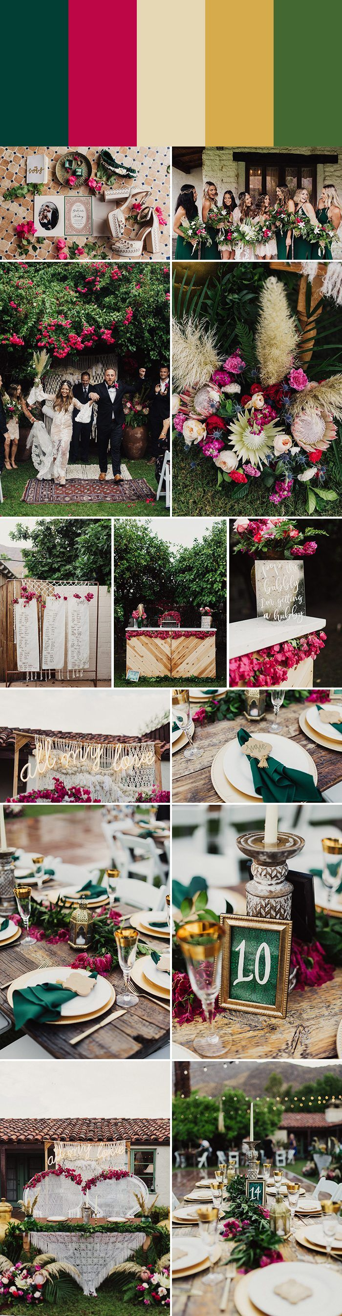 2018 Wedding Color Palette Inspiration: emerald + bougainvillea + pampas grass + bright gold + grass green | Image by Eden Strader Photography