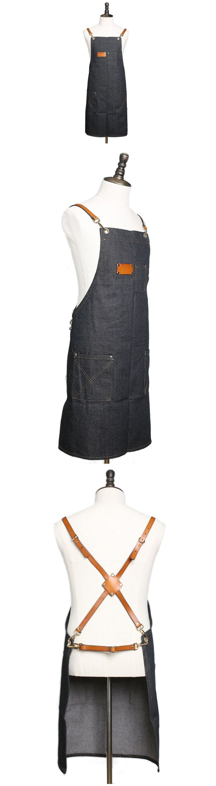 Waxed Canvas and Leather Apron Craftsman's Apron Barista's Apron with Pockets