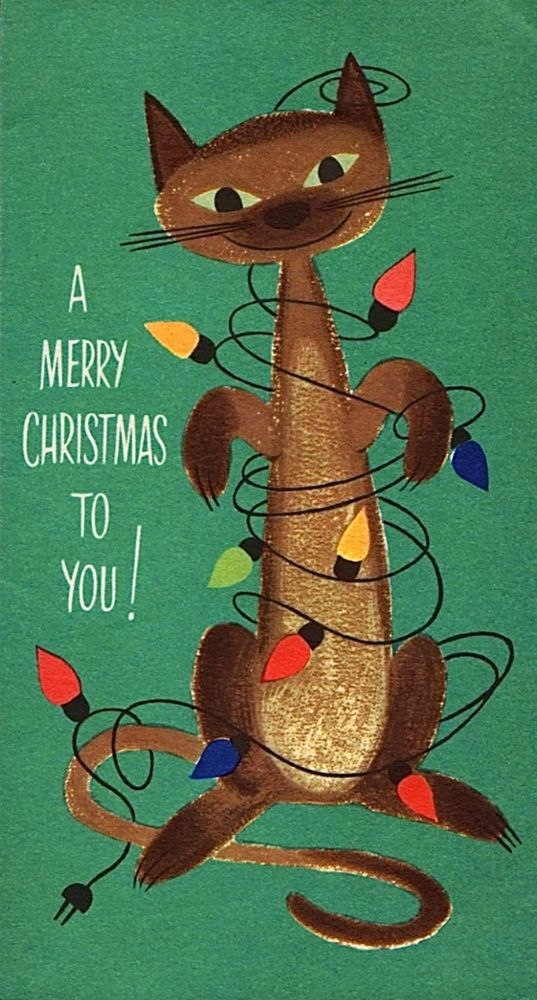 "Vintage ""A Merry Christmas to Ypu"" card featuring a Siamese cat tangled up in Christmas lights."